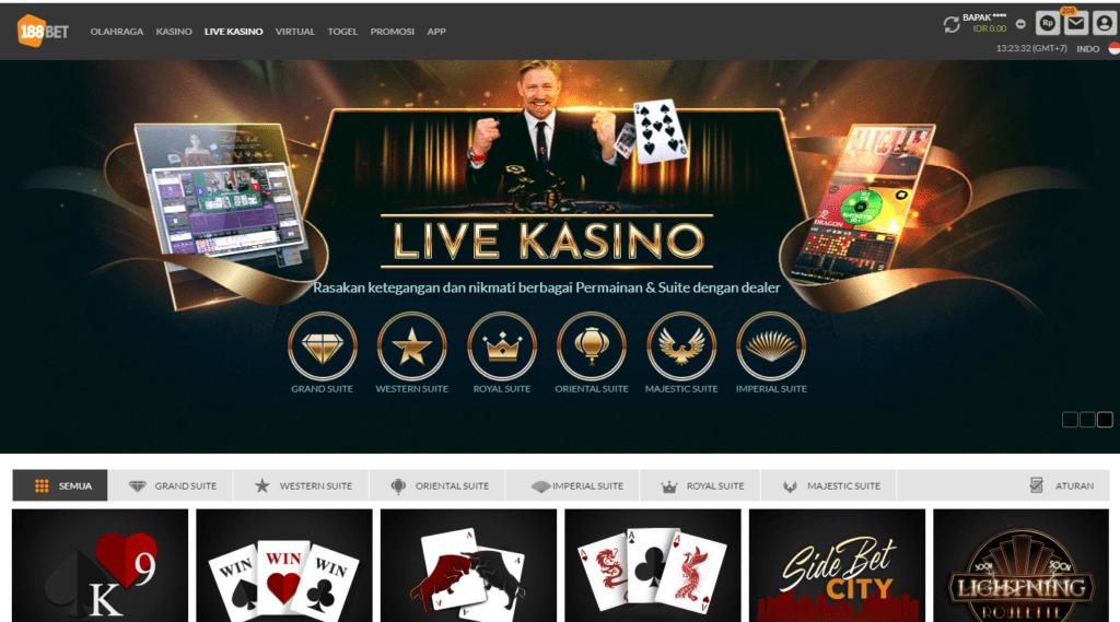 Tampilan halaman 'Live Kasino' situs 188BET